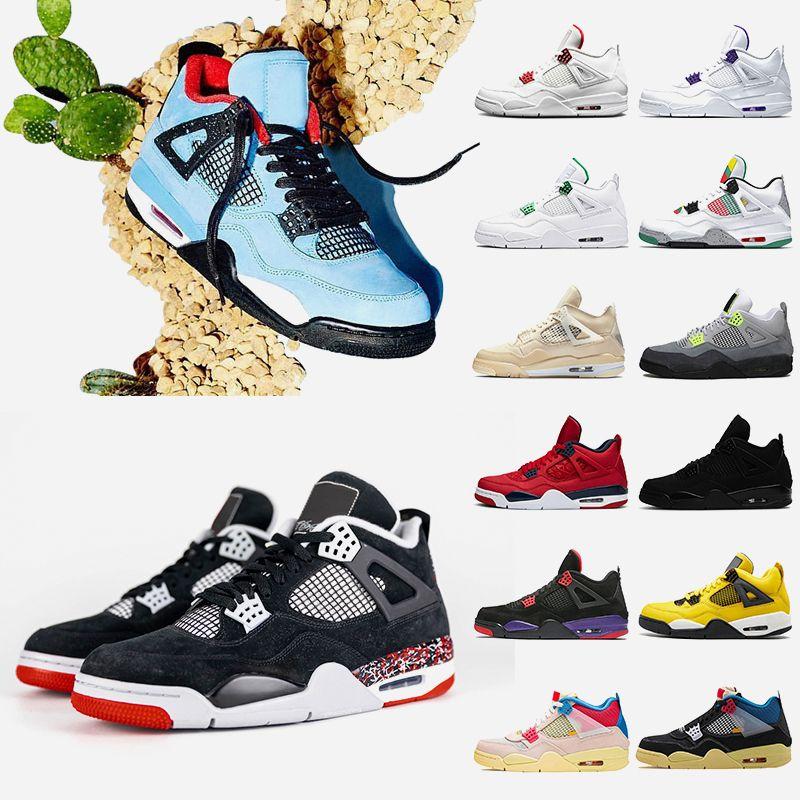 zapatillas zapatos air retro jordan sail 4 travis scott 4 4s gato negro 2020 zapatos de baloncesto para hombre corte púrpura rojo metálico zapatillas de deporte