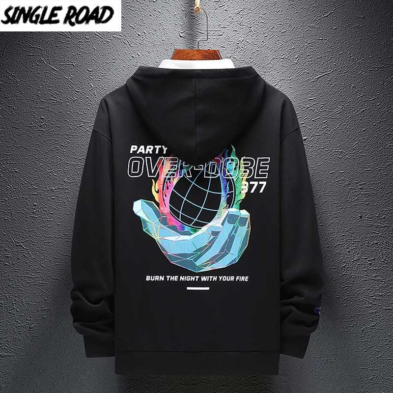 SingleRoad Menshoodies-Männer 2020 Herbst Grafik Hip Hop in Über Harajuku Japanese Street Sweatshirt Schwarz Hoodie Männer