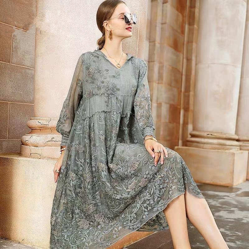 Nouveau été élégant maille dentelle Broder femmes une robe à capuchon ligne Cap plein manches Robes en vrac Vestido Plus Size 4XL S34 200928