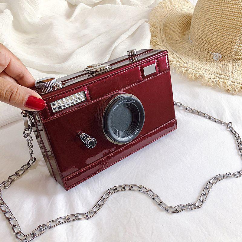 cámara de la manera mujeres del diseño de los bolsos de hombro caja divertida Messenge bolso de la PU crossbody del bolso de cuero damas elegantes pequeños monederos