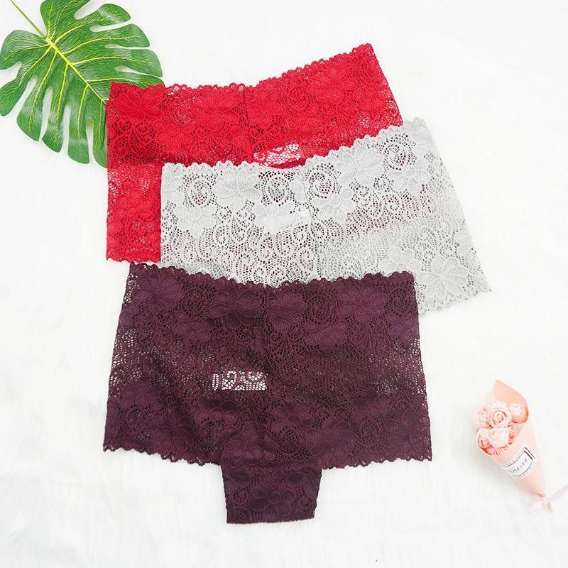 3pcs/lots Lace Panties Plus Size Women Sexy Ladies UnderpantsIntimate Panty Translucent Mid Rise Super Thin Boyshort Underwear