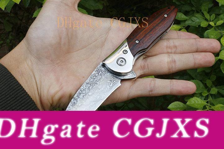 High Quality New Damascus Pocket Flipper Folding Knife Vg10 Damascus Steel Blade Rosewood Handle Ball Bearing Edc Knives