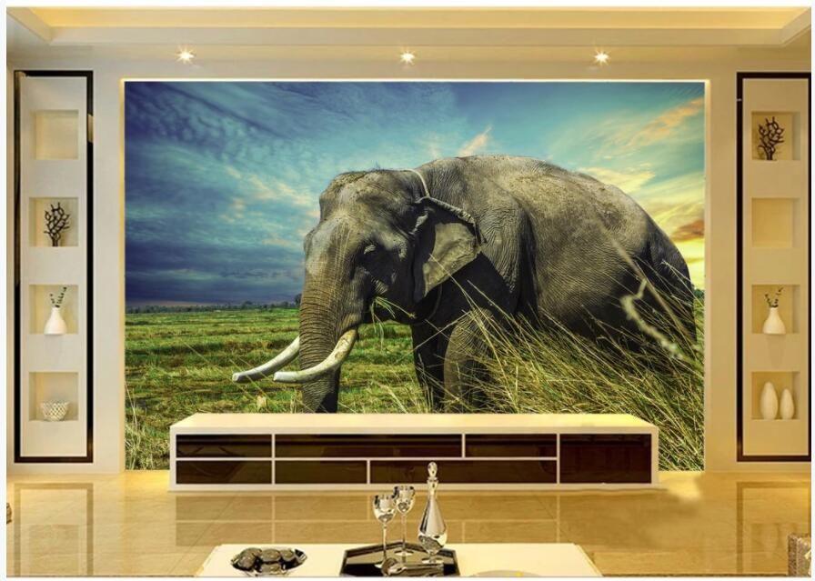 3d настенные фрески обои на заказ фото настенная африканская саванна слон в сумерках гостиной декора дома 3d росписей стен для стен 3 д