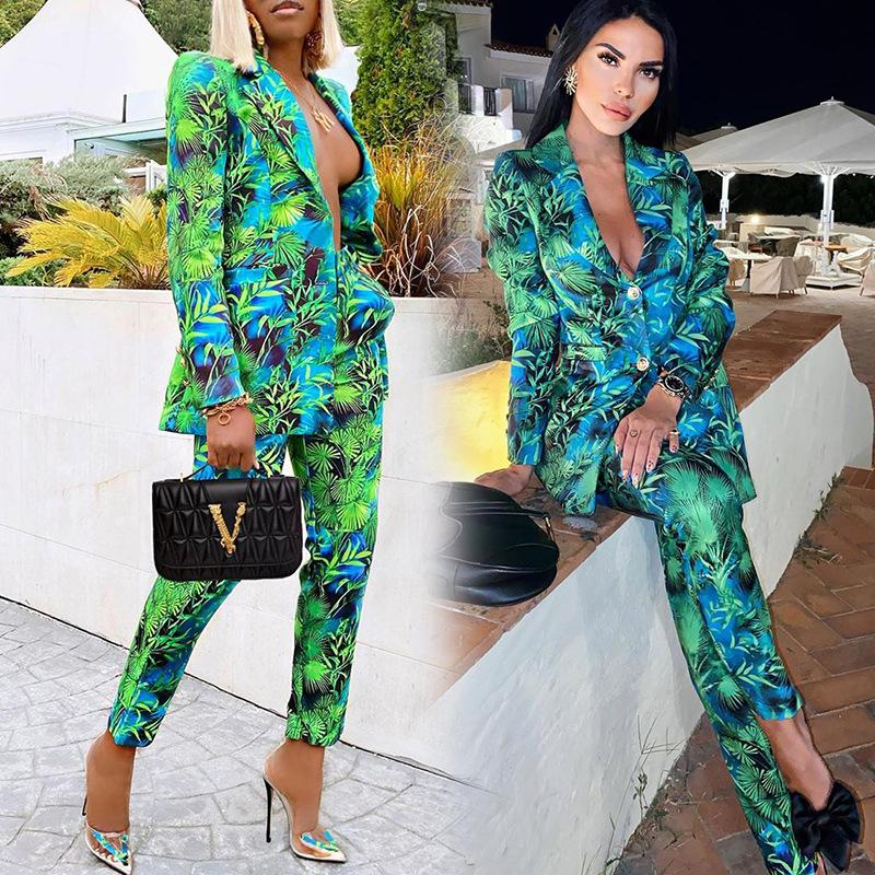 2020 Sonbahar Kadın Pantolon Suits Yeşil Orman Baskı Blazer Vintage Streetwear Uzun Kollu Ceket Ve Yüksek Bel Pantolon 2 Parça Set