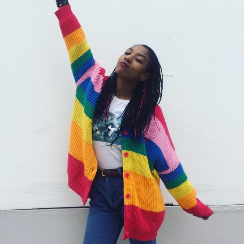 de Outono Mulheres camisola listrada do arco-íris colorido Cardigan Bordados Letters malha Feminino Harajuku Camisolas Plus Size 3XL