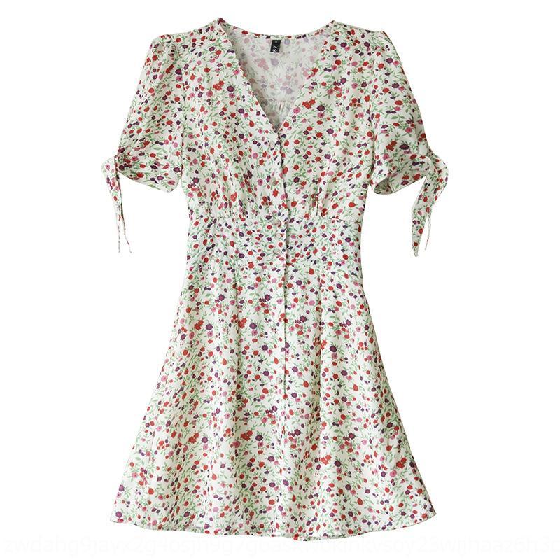 7QQyv S3AzC elbise Caihong aynı çiçek elbise zarif kadın Fransız V yaka kısa ins bel zayıflama öğrenci Yang