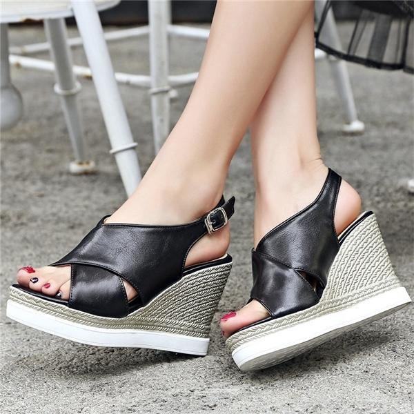 Goth Creepers Mulheres Voltar Strap Platform Wedges Gladiator Sandals Abrir Toe High Heel Summer Party Punk Bombas Shoes Calçados casuais 0922