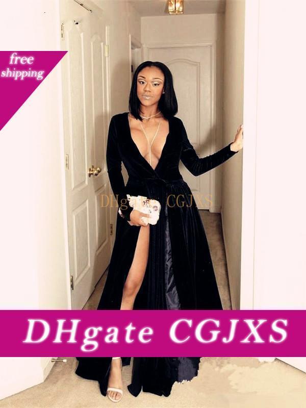 Sexy profondo scollo a V maniche lunghe Velvet Prom Dresses High Side Split Custom Made abiti di sera convenzionali