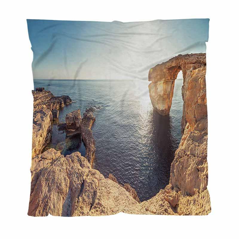 Por do sol morno flanela cobertores de lã toalha, Azure Window In sol Malta, Soft Blanket Multifuncional Confortável