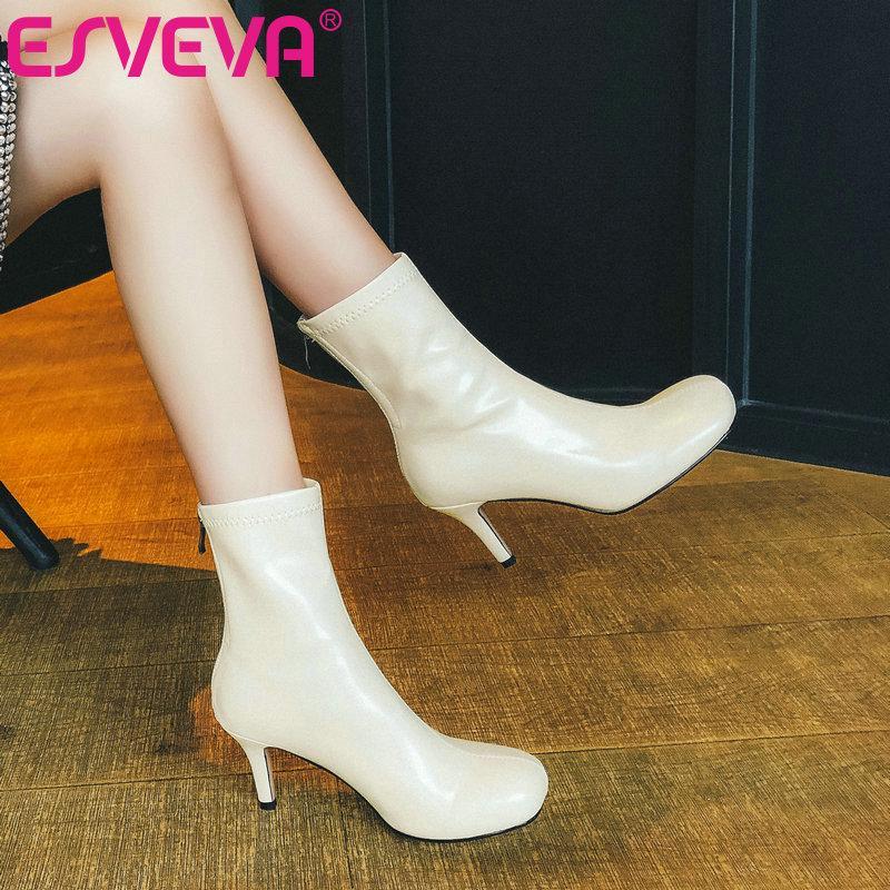 Ботинки Esveva 2021 Элегантный круглый носок тонкий высокий каблук PU + кожаная лодыжка женская обувь западный стиль черный размер 34-43