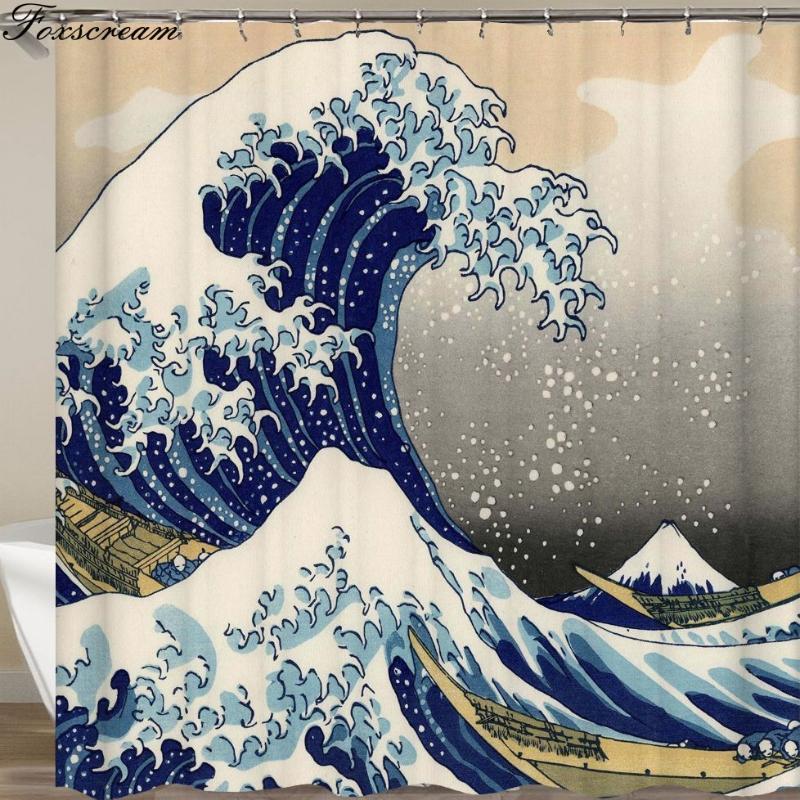 Японская баня занавеска Большая волна Канагава душевой занавес с морской волны Pattern Водонепроницаемый ванной или матового