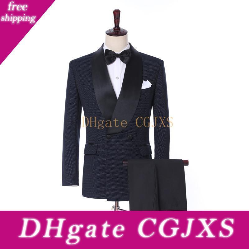 Latest Design Side Vent Double Breasted Groom Tuxedos Shawl Lapel Groomsmen Wedding Men Party Suits (Jacket Pants Tie )W36