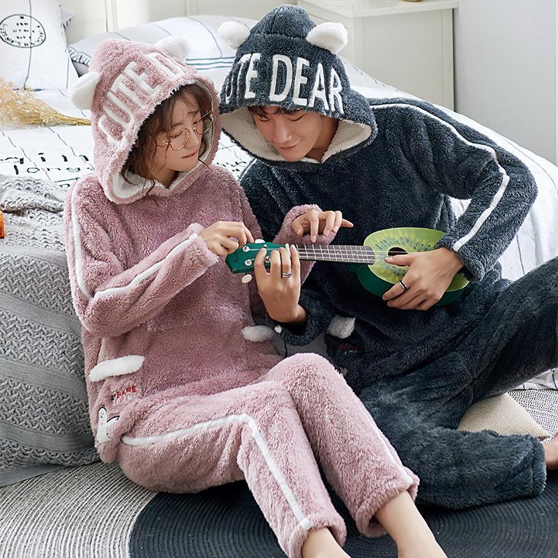 Yeni Çifti Çift Pijama Yumuşak Kış Pijama Kadınlar Kalın Ve Fanila Erkekler Mercan Ev Giyim Suit Isınma