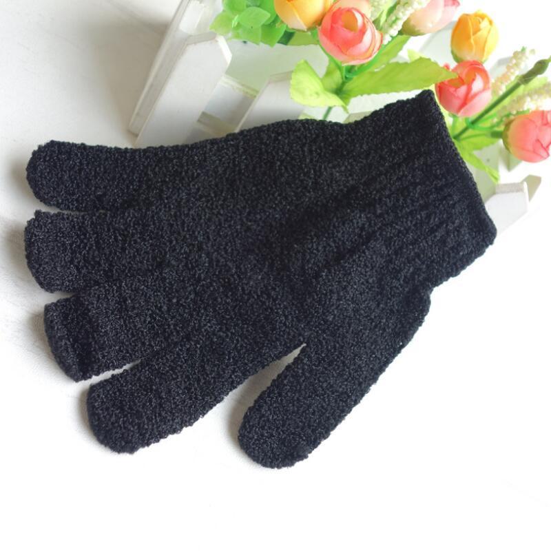 Schwarz Fünffingerform Exfoliating Badhandschuh Fünf Finger Badhandschuhe Intrafamiliäre Schwarz Handschuhe Home Badezubehör