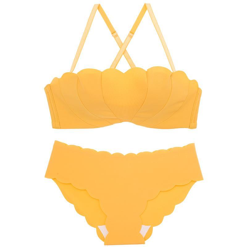 Wasteheart nuovo delle donne colore giallo di modo sexy della biancheria di colore rosa Accessori senza fili di cotone imbottito Mutandine Reggiseno push-up set di biancheria intima di un pezzo
