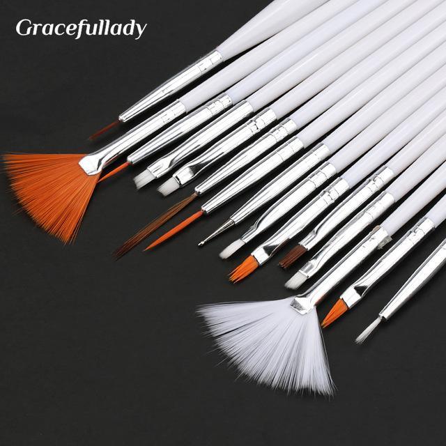 7/15Pcs Plastic Handle Brush Set Design Polish Painting Drawing Acrylic Gel Nail Brushes For Nails Art Manicure Tools
