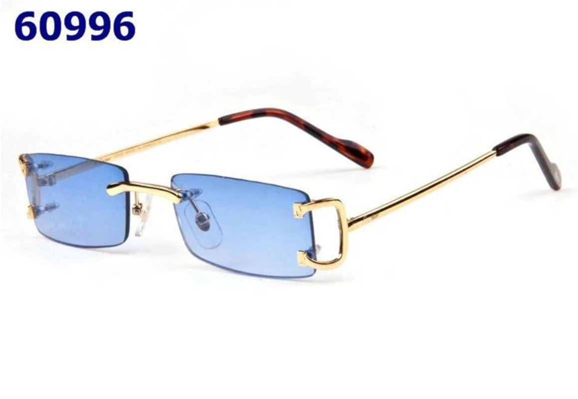 Top Quality nuove donne di arrivo Mens occhiali da sole di legno White Buffalo Horn Occhiali senza telaio occhiali in oro con scatola Blu Rosa Giallo Rosso