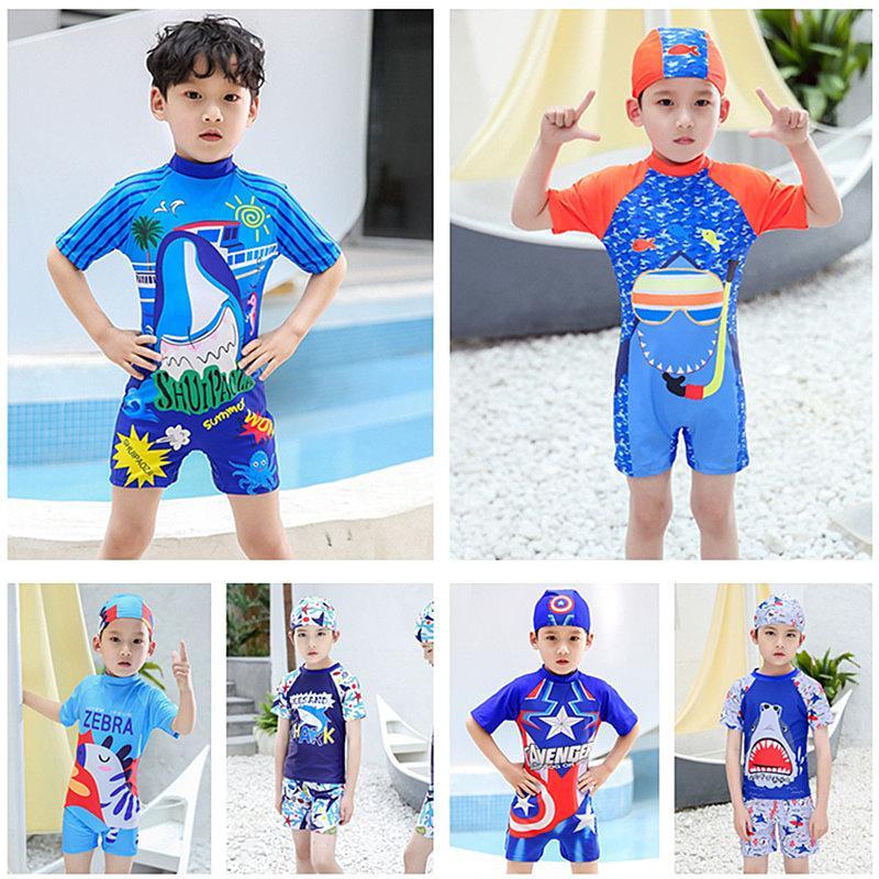 Мода Мальчики Swimsuits мультфильм печати Дети с коротким рукавом Шорты Купальники + HatsTeens Boy Surfing Пляжная Quick Dry купальный костюм 6 Цвет