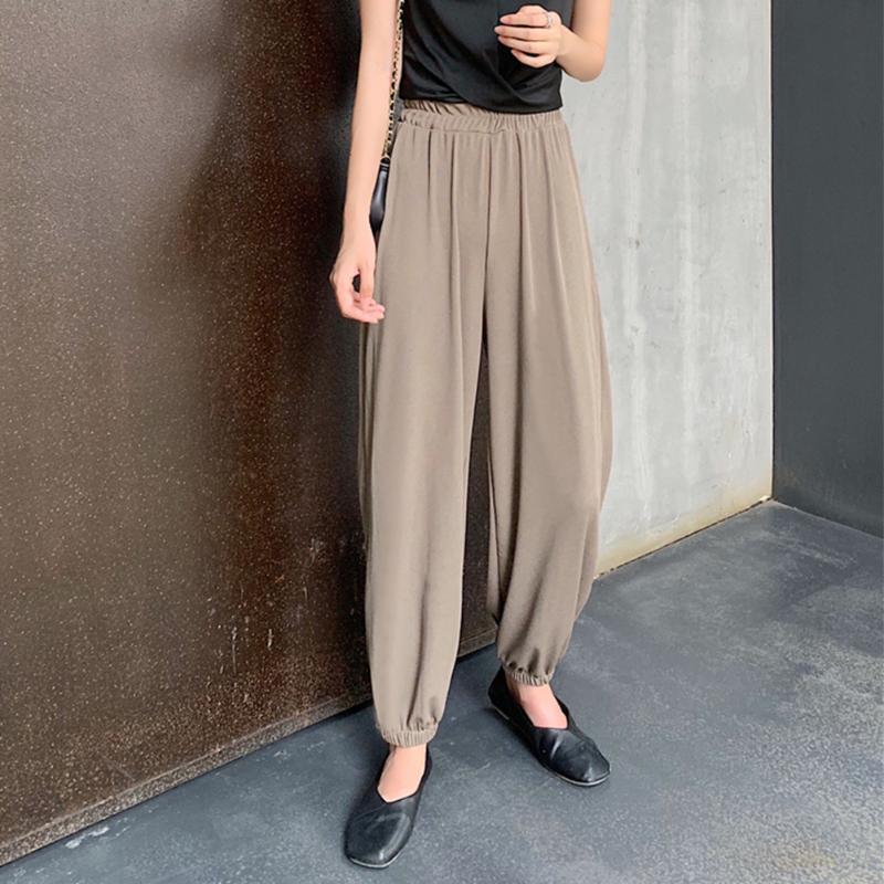 Le donne di moda Nove pantaloni elastici allentati vita alta Via poliestere Lanterna Outfit Autunno Primavera Casual Cool Solid