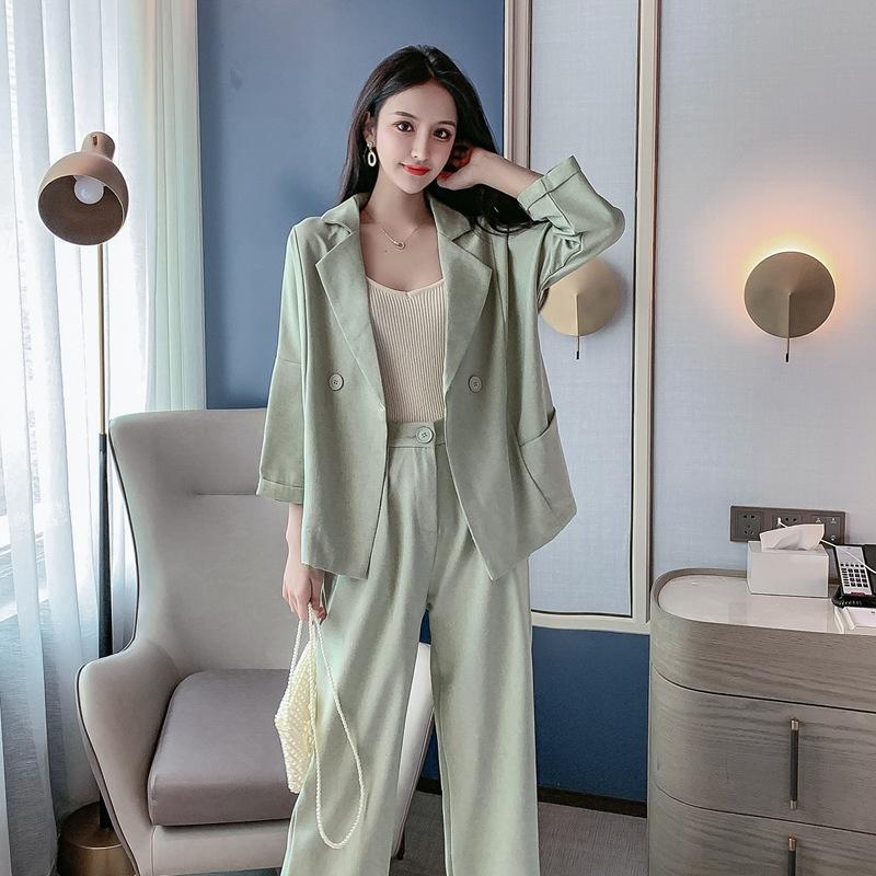 RVVit 2020 Autunno d'affari graziose stile occidentale moda dimagranti sette quarti vestito del manicotto pantaloni vestito a due pezzi Cappotto cappotto