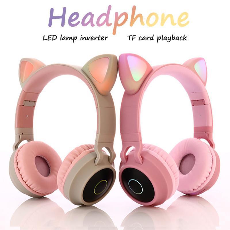 rosa Katze-Ohr-Stirnband-drahtlose Kopfhörer LED-Kopfhörer Geräusche annullieren Kopfhörer-Unterstützungs-TF-Karte 3,5 mm Stecker mit HD-Mikrofon