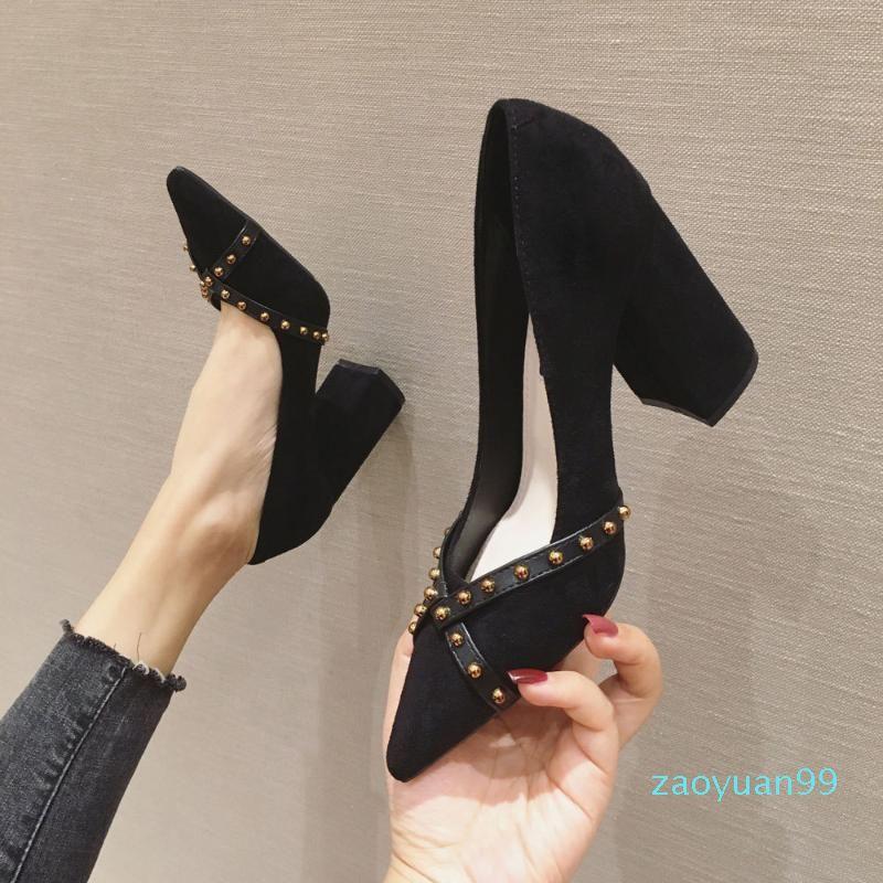 Her Shoes Hot Satış-Chunky-Topuk Topuklu Ayakkabı Kadın 2020 İlkbahar Modelleri Perçin en emin