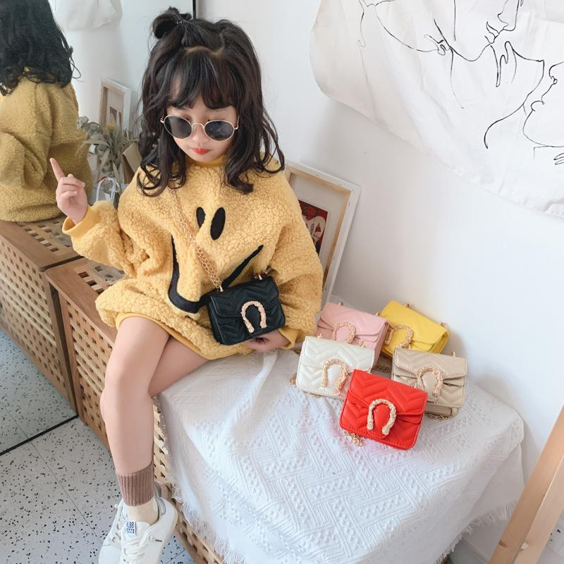 Bonitos meninas princesa bolsas moda crianças cadeia de metal uma bolsa de ombro chldren metal fivela mensageiro bolsa acessórios bolsa s662