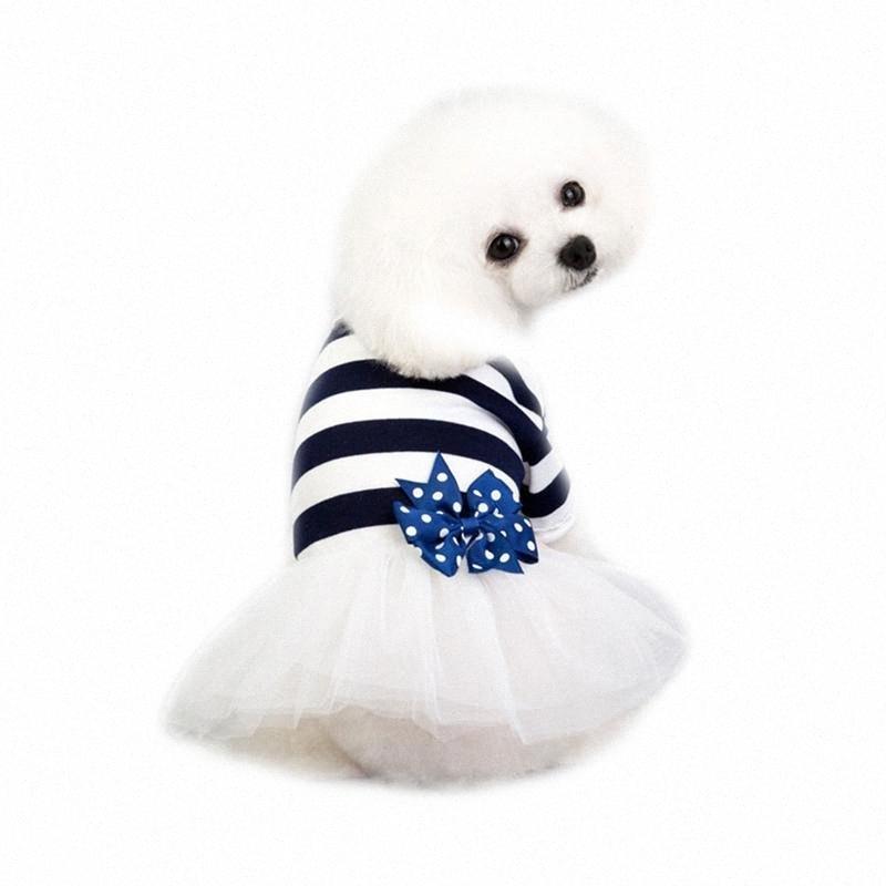 1pc Dog Tutu Robe Bow Tulle Vêtements Jupe chien Stripe Costume Vêtements Pet Supplies 23PR #