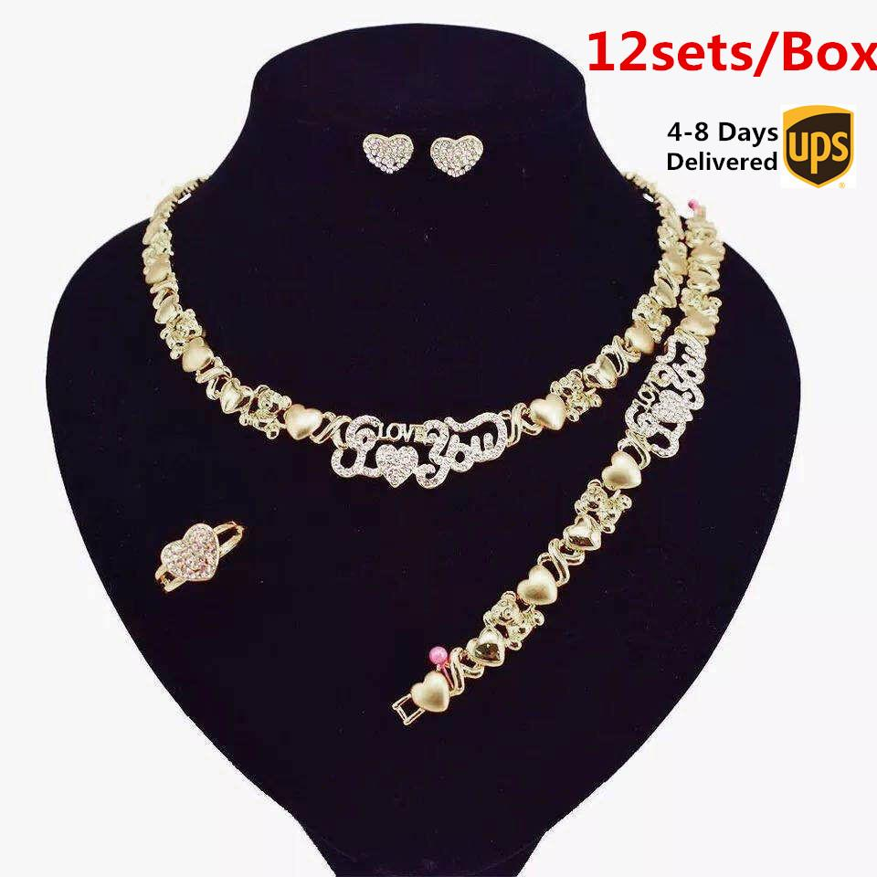 12 sets / lot joyería nupcial collar para mujer pendientes 14k conjunto de oro joyería para las mujeres conjunto de joyas de joyería conjunto de pulsera
