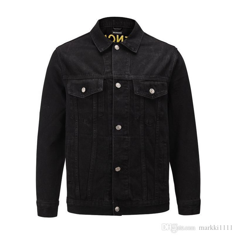 Heiße Männer langärmelige Jeansjacke neue Phantasie Spitzen. Black Fashion Week Männer Knopf-Jacken-Herbst-Winter-Trends Hip Hop Jacke S-X