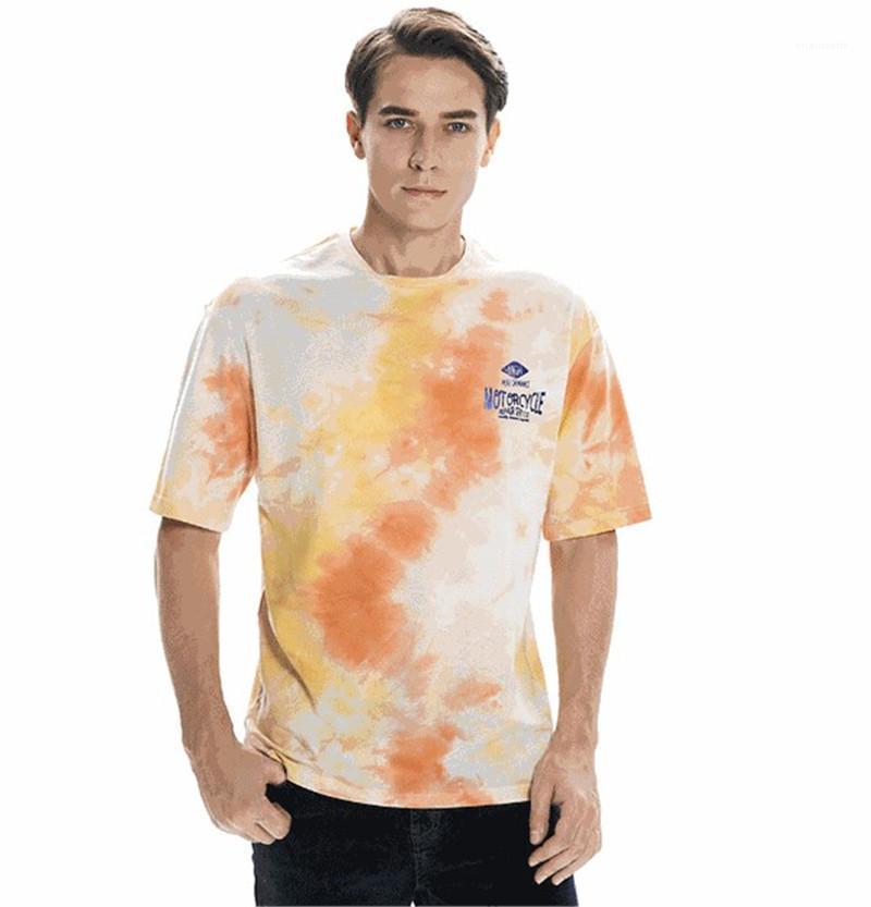Harf Baskı Casual Gevşek Erkek Kısa Kollu Tişörtler Erkek Tasarımcı Tie Boyalı Tshirts Yaz Mürettebat Boyun Tops