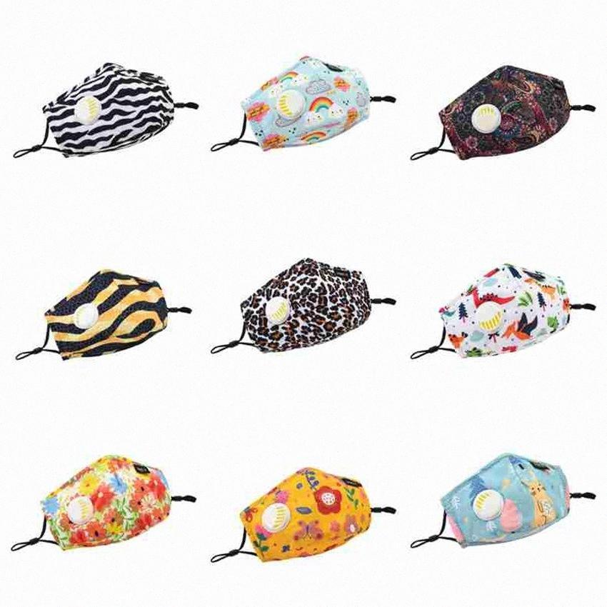 Erwachsene und Kinder Gesichtsmasken mit Ventil Cartoon Waschbar wiederverwendbare Baumwollmundmaske Staubdichtes Leopard Masken ZZA2402 150Pcs RPCR #