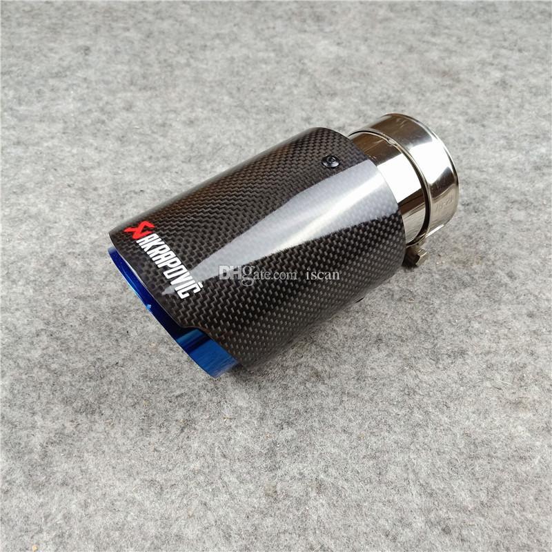 Ein Stück AK glänzende Kohlenstofffaserauspuff-Pipes Akrapovic-Blau-Edelstahl-Auspuff-Endrohr