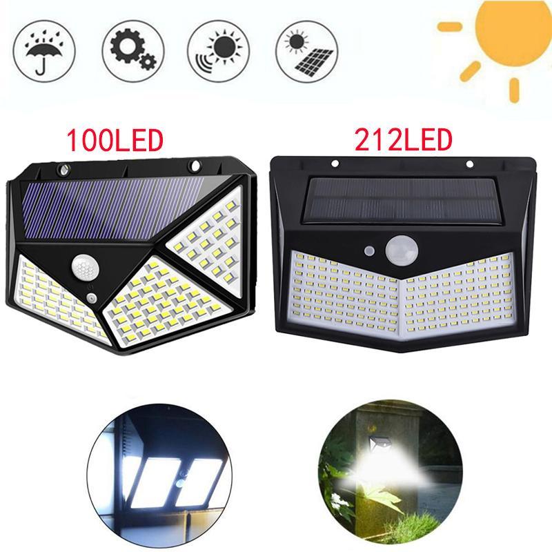 Luz solar LED LED LED Lámpara de pared 1002LED 212LED PER POTIDO SERVICIO SENSOR DE MOVIMIENTO Lámpara de seguridad a prueba de agua Iluminación de seguridad