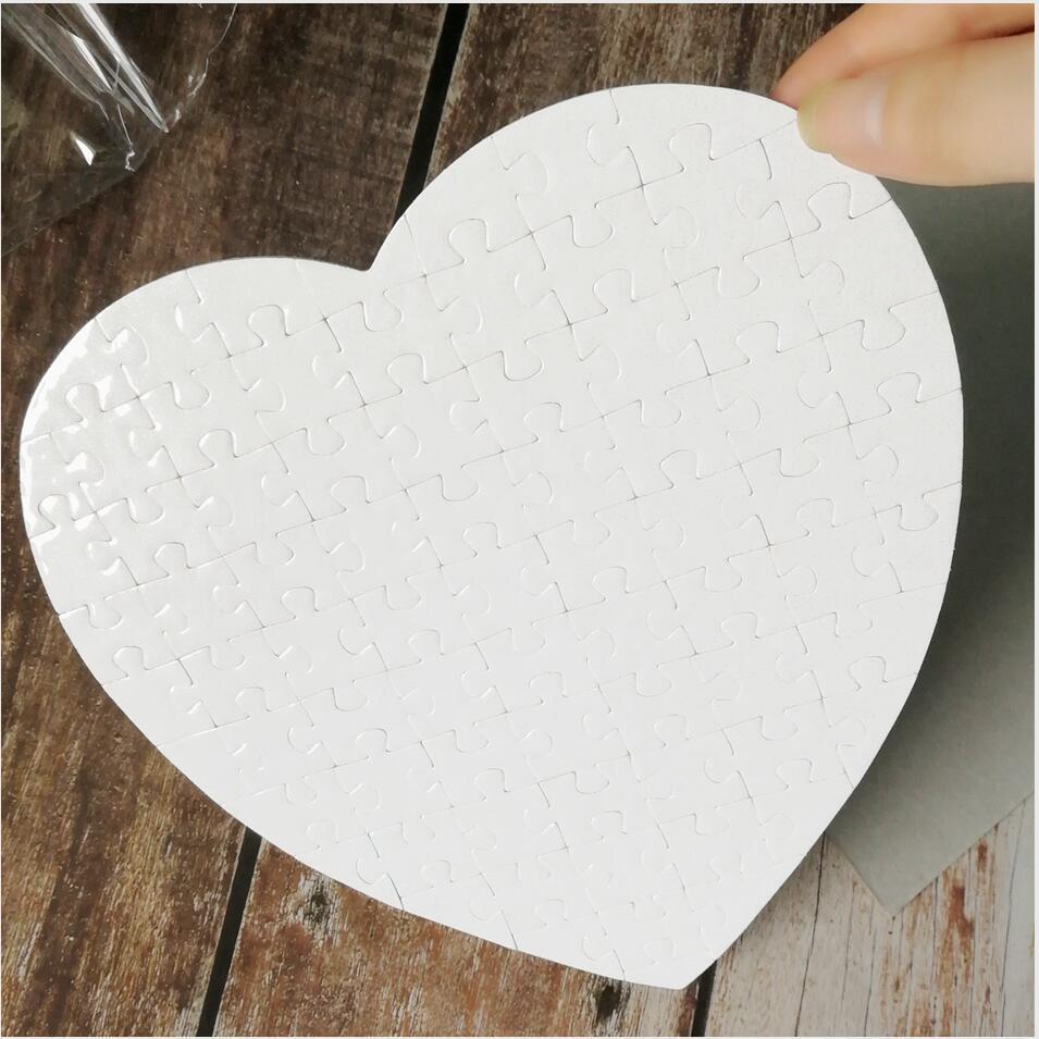 Puzzles en forme de coeur blanc 75pieces ljjp383 perle vierge vierge anniversaire jour jour cadeau cadeau Jigsaw Saint Valentin Puzzle faveur de mariage sublimation NLTG