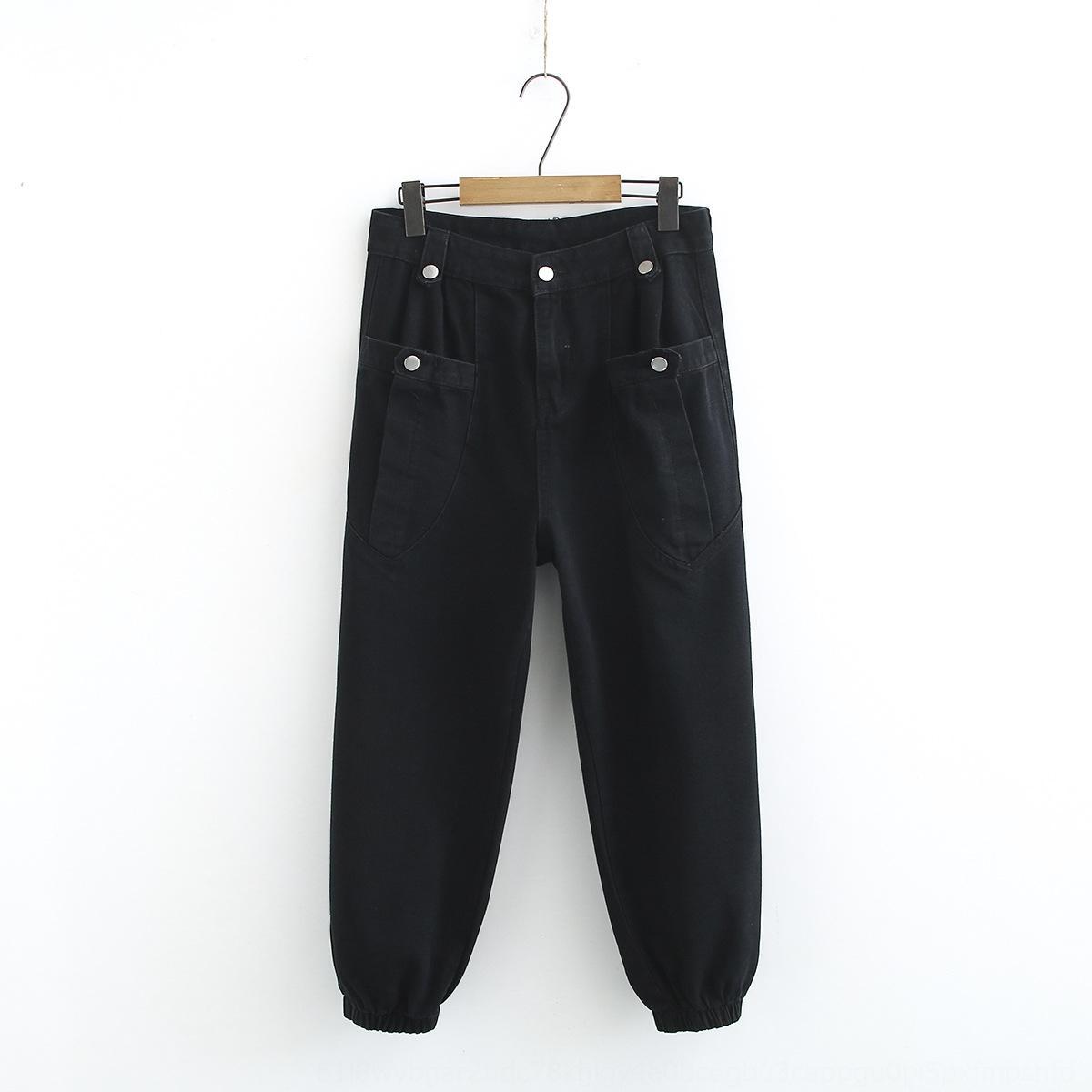 Plus plus resorte de la ropa nueva de Corea del estilo de grasa MM 200 kg de adelgazamiento de herramientas jeans de moda tobillo-atado de las mujeres y los pantalones vaqueros del tamaño 7484