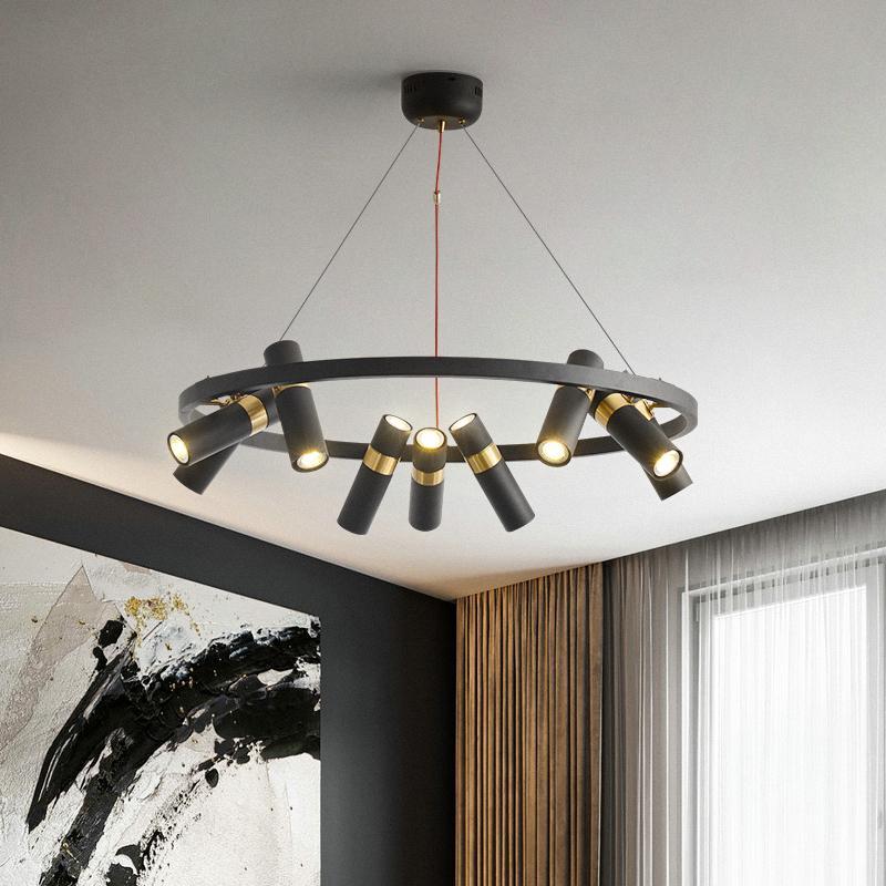 Retro Loft Eisen-Leuchter-Beleuchtung Moderne Punkt-Kronleuchter für Wohnen Schlafzimmer Raum Vintage Hauptdekor Licht Leuchte