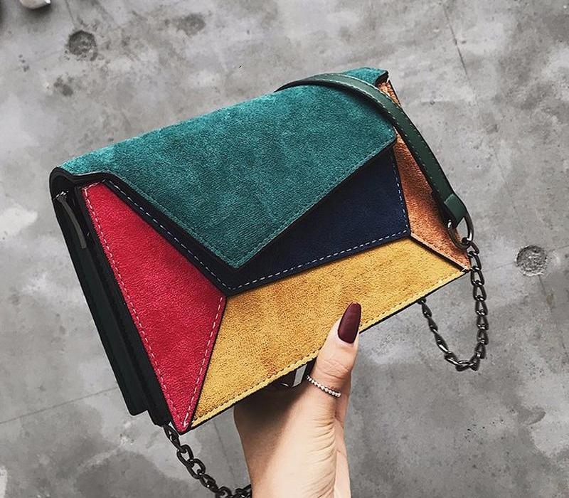 2019 Leather New alta qualidade da cadeia de Patchwork Mulheres Messenger Bag Feminino alça de ombro saco pequeno Criss-Cross Ladies Flap002