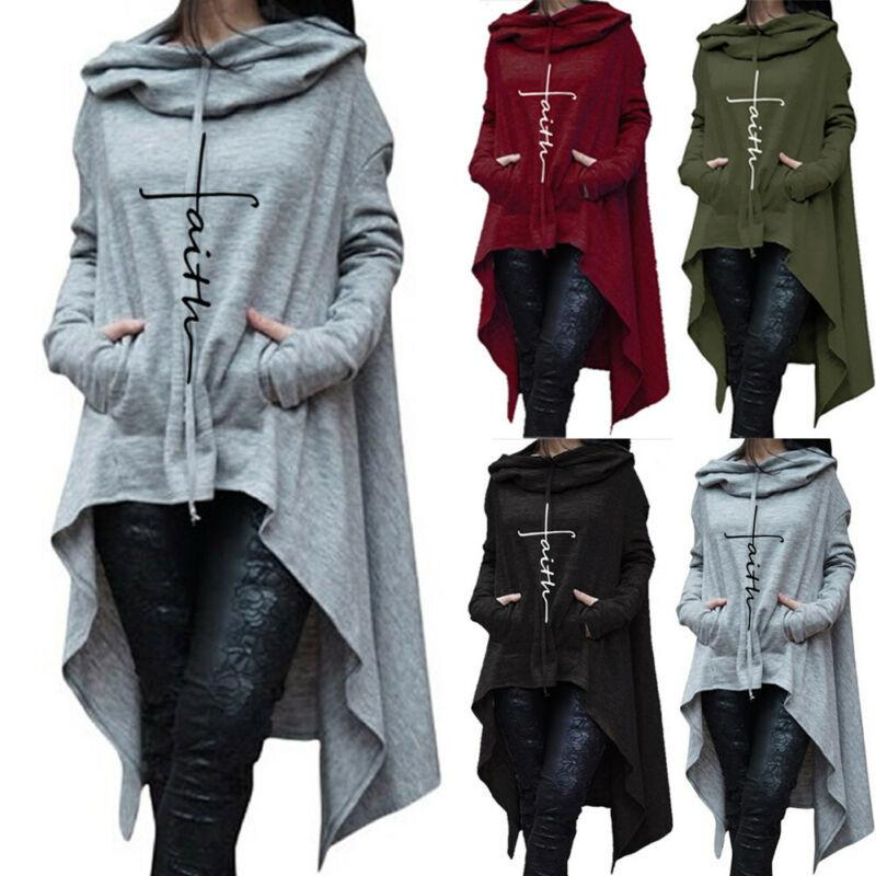 Tamaño más irregular Hoodies Mujeres sólido Moda con capucha para mujeres sueltan el Manto sudadera Outwear CX200814 Escudo
