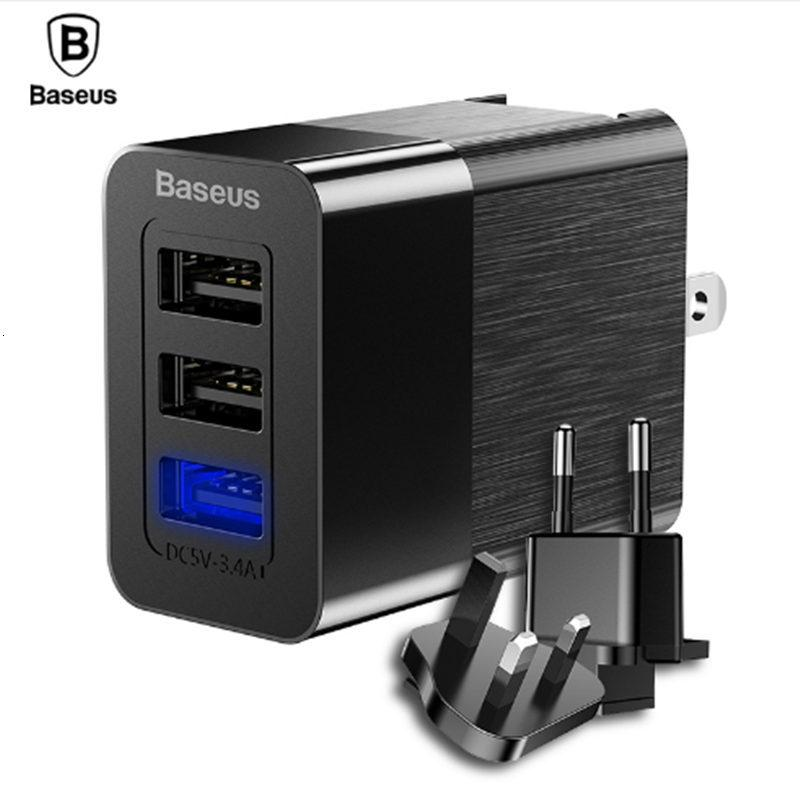 Baseus porta USB 3 em 1 Triple UE US UK Plug Adapter 2.4A Travel Recados Carregador de telemóvel para o iPhone X Samsung