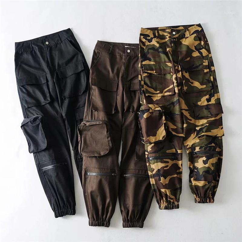 Pantolon Casual Serin Gevşek Kamuflaj Baskılı Moda Kadın Parça Pantolon Sokak Stili Bayan Tasarımcı Pantolon Kargo Cepler