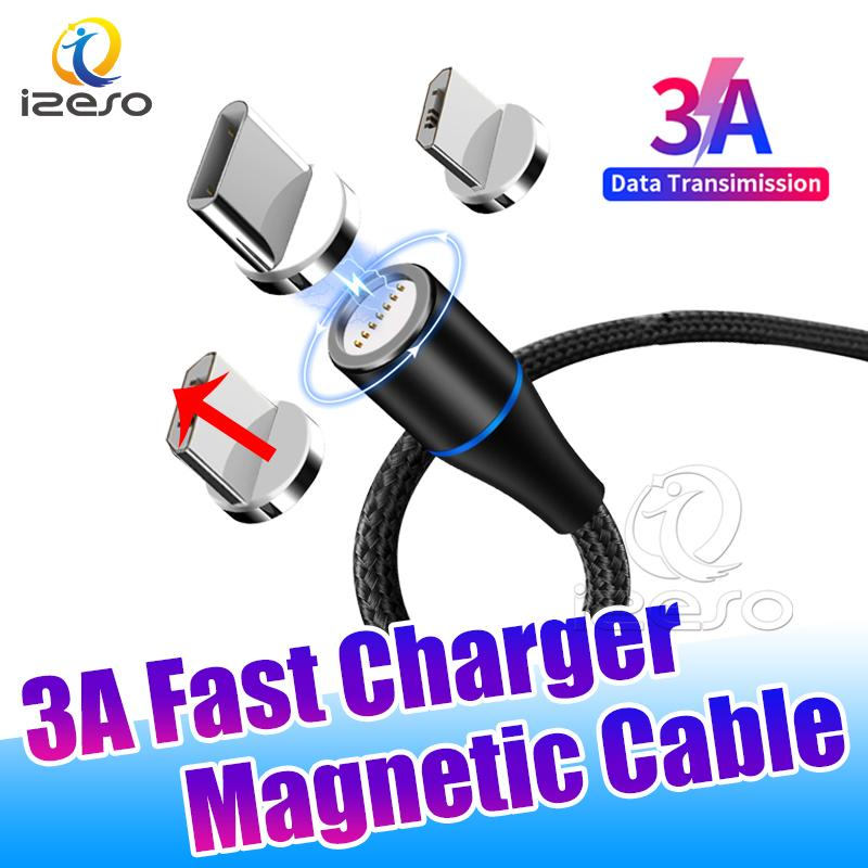 Type C Micro USB Cables Fast Charge LED Nylon Braided Wire Cord Magnetic USB Cable Data Line Quick Charger for Mobile Phone izeso
