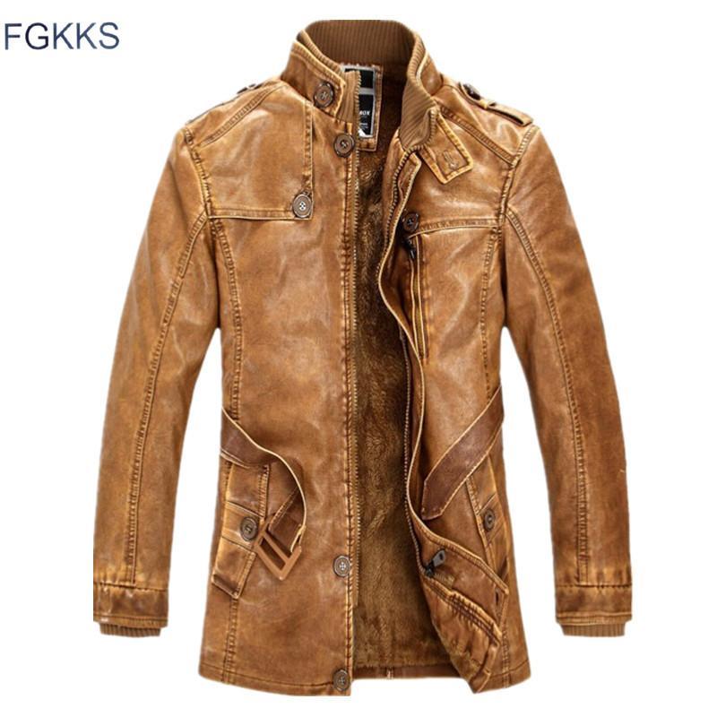 FGKKS invierno de los hombres de piel de ante de la chaqueta de moda Marca de Calidad lana forrada de piel de imitación de la motocicleta abrigos Hombre chaquetas de cuero CX200804