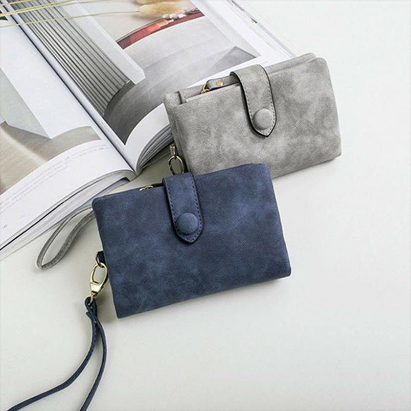 2019 Lady Female Solid Cuero Tarjeta Color estilo Color Billetera Corta Multi Coin Tri Simple Pleg Pockets Purse Clutch New SJSML