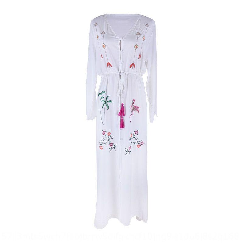 YryAk Rayon embroideredlong hırka bluz plaj güneş geçirmez kol kollu kadın tatil Rayon embroideredlong ceket güneş geçirmez plaj bl THPX6
