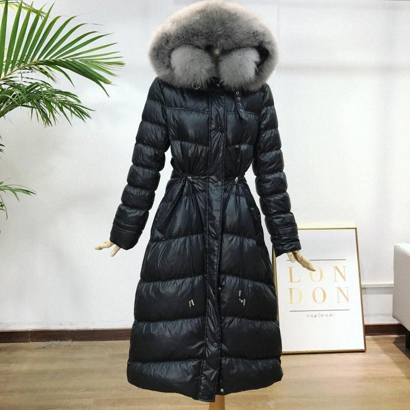 White Duck Down Down cappotto del rivestimento delle donne del nuovo cappuccio Fur Collar addensare inverno Donne cappotto lungo allentato parka delle donne DXMS Jacket #