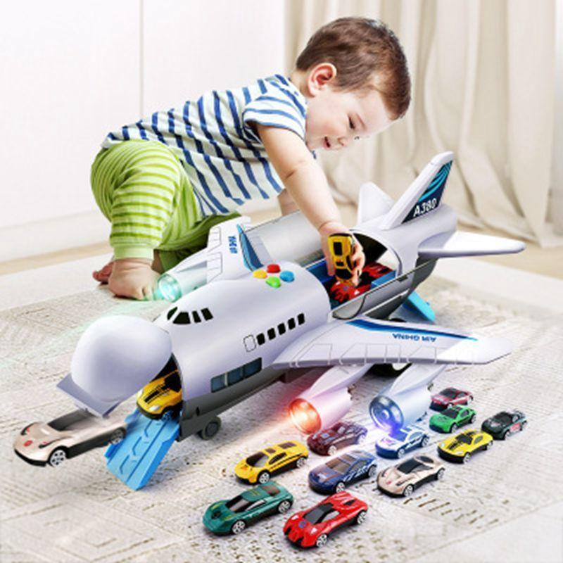 Music Story Simulation Track Inertia Children'S Aircraft Large Size Passenger Plane models kit Car Kids Airliner Toy