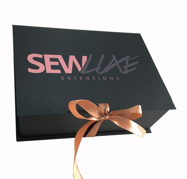 Customized Печать ленты упаковочные коробки с логотипом Складная Доставка Mailer парик Box Одежда шарф волос парики Упаковка Подарочная коробка