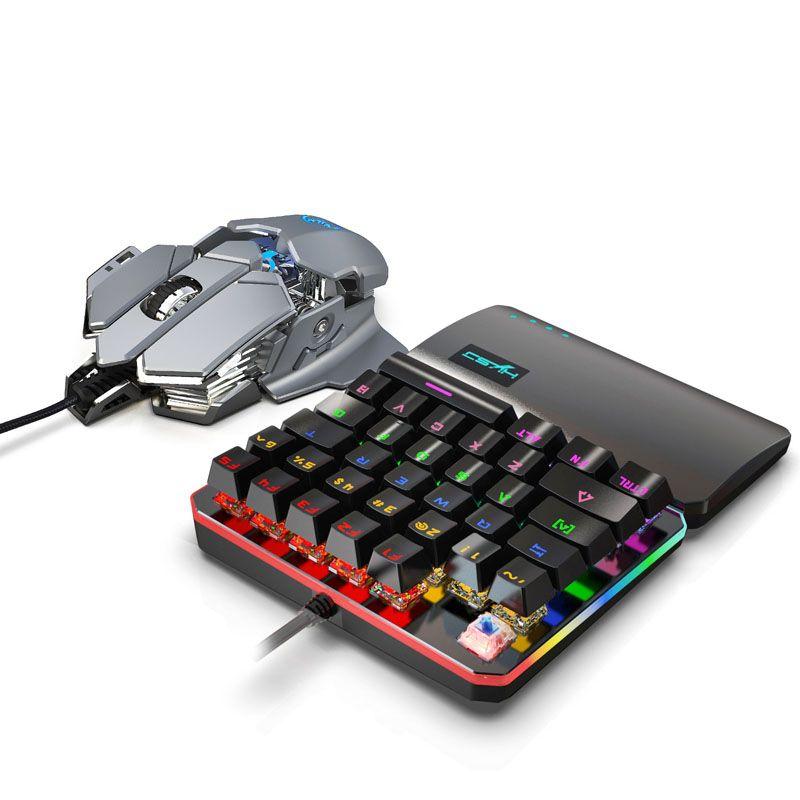 키보드 마우스 콤보 세트 35 키 미니 USB 유선 키보드 + 유선 게임 Mouses 게이머를위한 9 키 매크로 프로그래밍