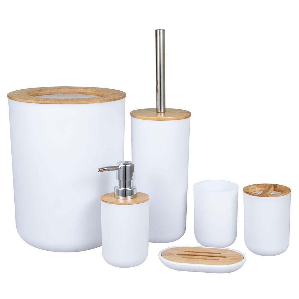 Гостиная Bamboo Деревянные аксессуары для ванной комнаты Набор мыла Диспенсер для туалетной щетки